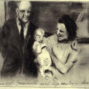 Bernard Gosschalk met zijn ouders geboren 13 december 1943 vermoord te Sobibor inkcharcoal on paper 2013 Alle Jong 290x290 More images